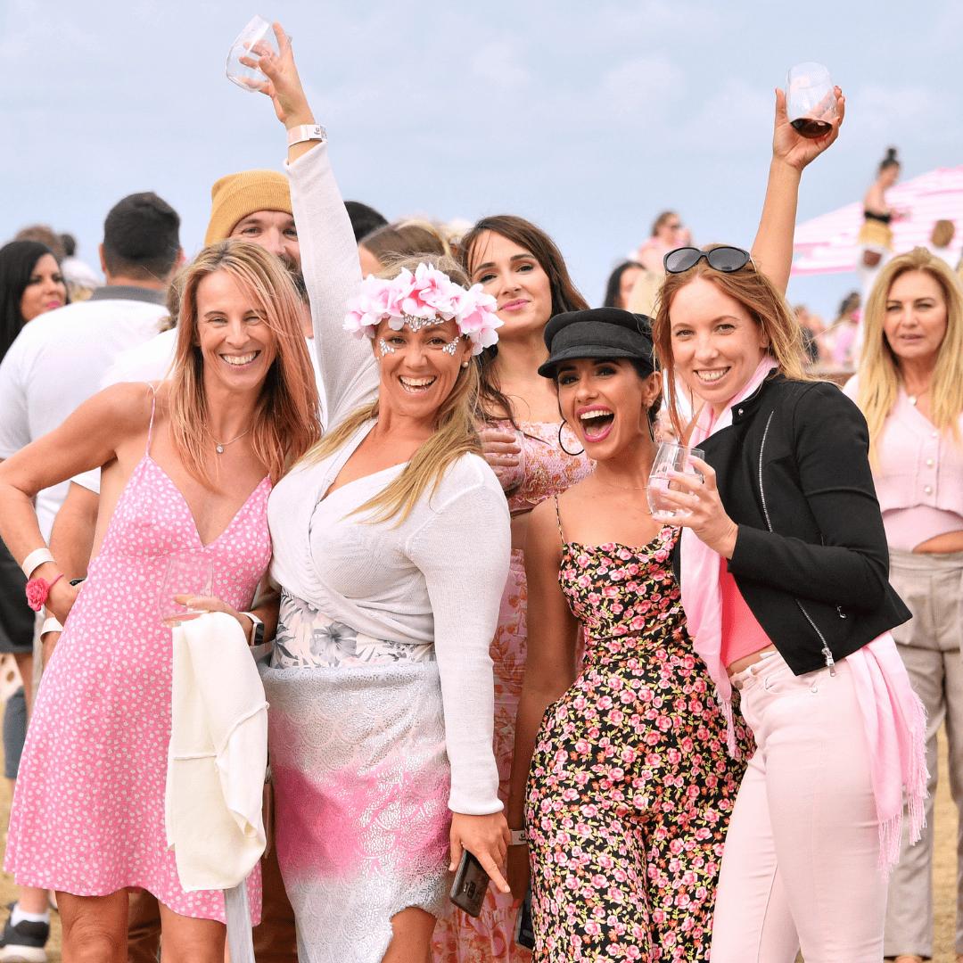 Women cheersing at Kurrawa Beach Gold Coast 2021, Rosé Coast